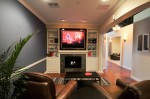 family room fireplace on